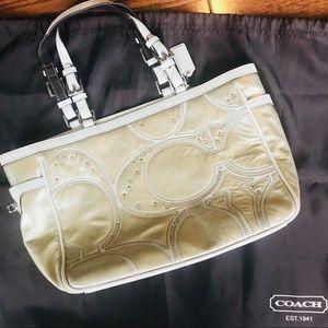 Coach gold metallic purse bag
